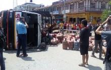 बुटवलमा ग्यास सिलिण्डर बोकेको ट्रक दुर्घटना