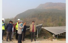 नुवाकोटमा निर्माणाधीन २५ मेगावाट सौर्य प्लान्टको निर्देशक शाक्य द्धारा अवलोकन